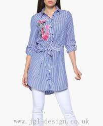 late holidays quiz stripe embroidered shirt 100 polyester blue