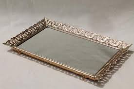 Gold Vanity Mirror Vintage Gold Tone Metal Lace Filigree Vanity Mirror To Stand Hang