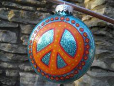 pottery barn inspired diy glitter peace sign ornament diy