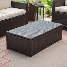 outdoor wicker storage ottoman amazon com coral coast berea outdoor wicker storage coffee table