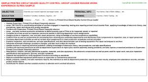 Sample Resume For Quality Control by Printed Circuit Board Quality Control Group Leader Resume Sample
