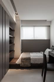 design bedroom in small space bedroom platform shelving recessed niche for hvac register and
