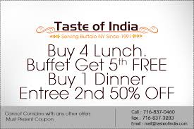 Indian Buffet Buffalo by Coupons Taste Of India