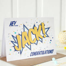 personalised congratulations card comic book style by