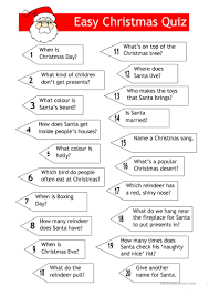 25 free esl christmas quiz worksheets