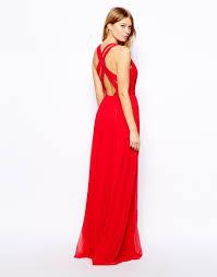 mango cross back maxi dress in red lyst