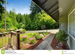 beautiful landscape design with walkway house exterior stock