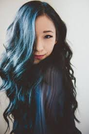 black hair dip dyed blue hair and model