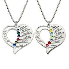 birthstones necklace for personalized heart necklace for him and