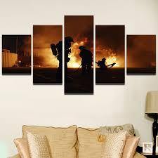 chambre pompier moderne décor photos cadre chambre affiche imprimée 5 pièces pompier