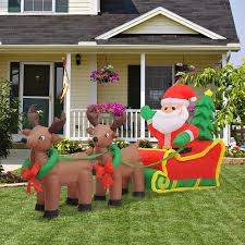Lighted Santa And Reindeer Outdoor by Homcom 7 U0027 Inflatable Christmas Santa In Sledge Reindeer Led