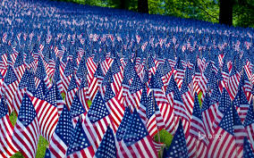 Massachusetts Flag Field Of Flags Displayed For Memorial Day Boston Massachusetts