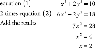systems of equations solved algebraically