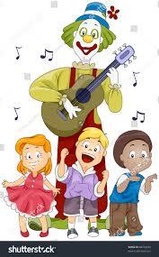 singing birthday illustration kids clown singing birthday stock vector