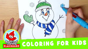 snowman coloring page for kids maple leaf learning playhouse