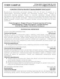 construction superintendent resume sample project manager template
