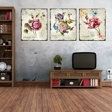 triptych cheap modern canvas prints rose drawing picture wall art