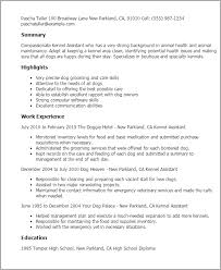 Veterinary Resume Sample by Professional Kennel Assistant Templates To Showcase Your Talent