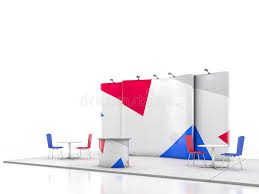blank creative exhibition stand design with color shapes booth