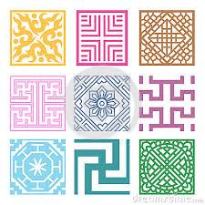 korean design plaid symbol sets geometric pattern design korean traditional by
