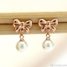 bow earrings fashion bow pearl earrings fashion earrings jewelry
