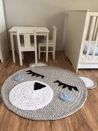 kinderzimmer teppich rund kinderzimmerteppich grau blau bär junge 100 cm durchmesser