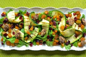 thanksgiving salad healthy and gourmet arugula with caramelized pumpkin and zucchini