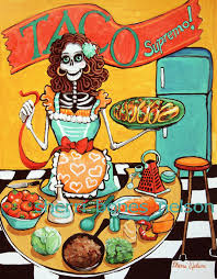 kitchen catrina art print mexican food poster pinup skeleton art