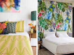 interiors tropical bedroom decorating idea features bright and
