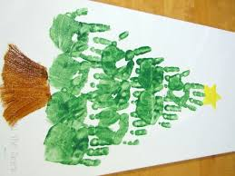 handprint christmas tree on canvas great decoration or gift idea