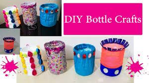 Pencil Holder For Desk 4 Diy Waste Bottle Crafts Diy Bottle Pen Holder Youtube