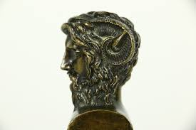 bronze antique bust of a greek satyr companions of dionysus