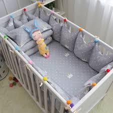 Grey Crib Bedding Sets 6pcs Set Cotton Baby Cot Bedding Set Grey Crown Crib Bedding