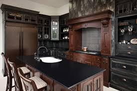 furniture black corian countertop with arch faucet and stools black corian countertop with arch faucet and stools plus dark wood cabinets for kitchen design