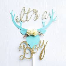 it u0027s a boy deer head cake topper tribal brave baby