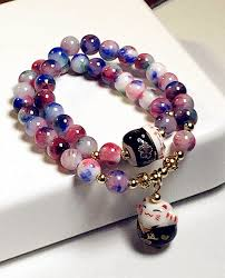 crystal stone bracelet images Lucky cat crystal natural stone bracelet multilayer beaded jpg