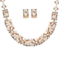 chunky crystal necklace sets images Yazilind rose gold cream faux pearl crystal collar chunky bib jpg