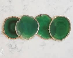 Emerald Green Home Decor Green Agate Coasters Emerald Geode Coasters Gem Coasters