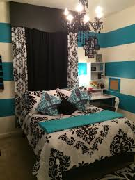 Black And White Bedroom With Color Accents Black White U0026 Teal Teens Bedroom Teal Stripes And Real Accents