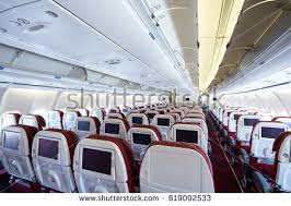Airplane Interior Modern Interior Aircraft Black Red Seats Stock Photo 139634207