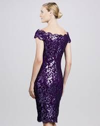 purple cocktail tadashi shoji offtheshoulder lace cocktail dress in purple lyst