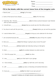 grade verbs worksheet complete sentences by writing correct tense form of irregular