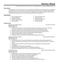 Stockroom Manager Resume Parts Manager Resume