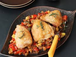 cuisine ratatouille roast chicken with ratatouille recipe andrew zimmern food wine