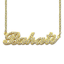 customized nameplate necklace sparkling cut carrie style name necklace gold color personalized