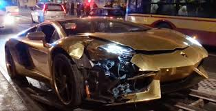 gold and white lamborghini lamborghini aventador is wrecked in collision superunleaded com