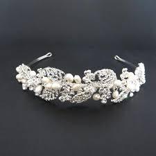pearl headband bridal headband freshwater pearl headband rhinestone leaves and