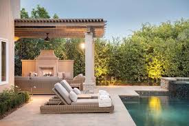 Pergola Ceiling Fan Gray Pergola Over Outdoor Fireplace Transitional Pool
