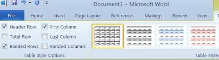 table tools design tab using tables in microsoft word 2010 universalclass