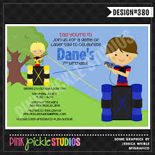 outdoor laser tag personalized party invitation